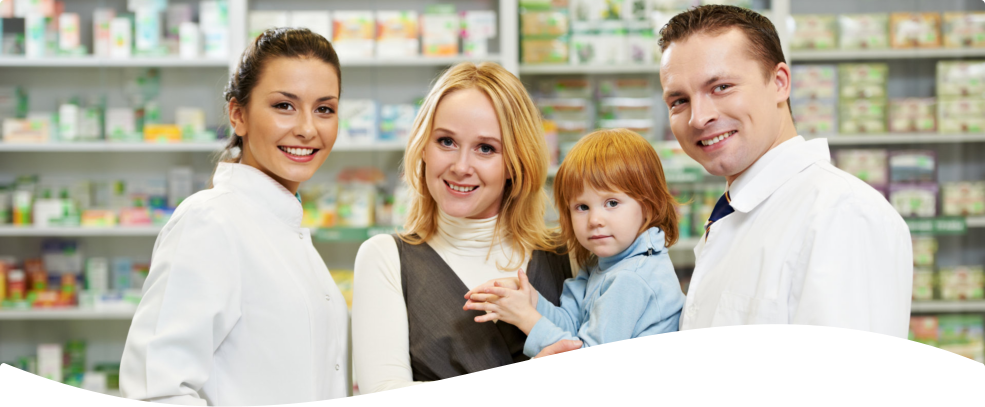 pharmacist and family smiling